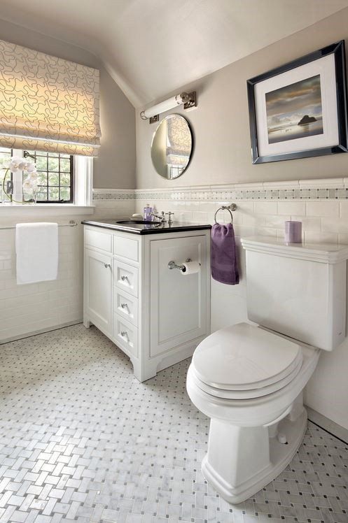 Bathroom Anatolia Bianco Venatino Basketweave 2