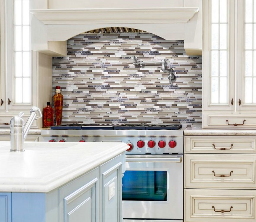 Solid Glass Backsplash Kitchen: ANATOLIA BLISS CAPPUCCINO LINEAR 2