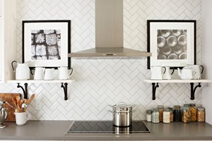 KITCHEN BACKSPLASH - ANATOLIA SOHO WHITE BEVEL 3X6 IN HERRINGBONE PATTERN