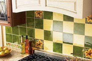KITCHEN BACKSPLASH - SOLISTONE HAND PAINTED CERAMIC DECO PARAISO, SOL, AND NOPAL
