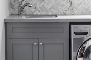 LAUNDRY BACKSPLASH - AKDO CARRARA HERRINGBONE