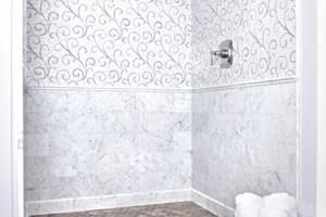 SHOWER - AKDO CARRARA 12X12 (P), LACE CURVE MOSIAC CARRARA AND TURKISH GRAY (P), SAVANAH GRAY HEXAGON (H), CARRARA MOLDINGS