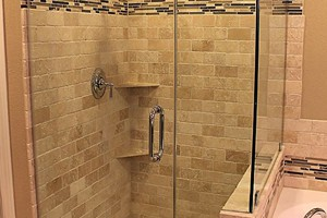 SHOWER - ANATOLIA 3X6 TUMBLED IVORY TRAVERTINE AND BLISS CAPUCCINO LINEAR BLEND