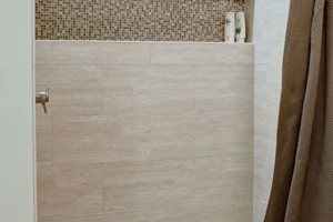 SHOWER - ELEGANZA CLASSIC TRAVERTINE POLISHED, 2X2 IVORY HONED AND FILLED, AND BLISS SPA SQUARES
